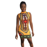 Women Traditional African Turtleneck Tribal Print Dashiki Dress