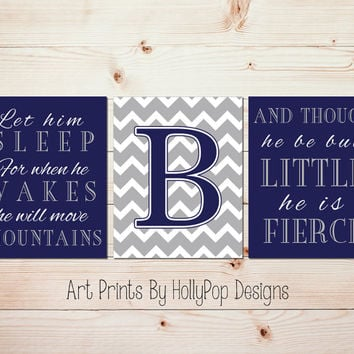 Let him sleep Boy nursery quotes Boys room decor Baby boy nursery Modern baby art Move mountains quote Art for boys Blue nursery art #1460