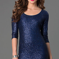 Short Sequin Scoop Neck Dress with 3/4 Length Sleeves
