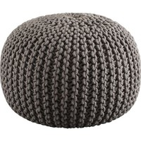 knitted grey pouf in pillows | CB2