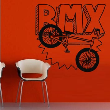 Wall decal art decor decals sticker bedroom great bicycle sport BMX jump bike cycle (m831)