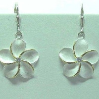 20MM SILVER 2 TONE HAWAIIAN PLUMERIA FLOWER LEVERBACK EARRINGS CZ