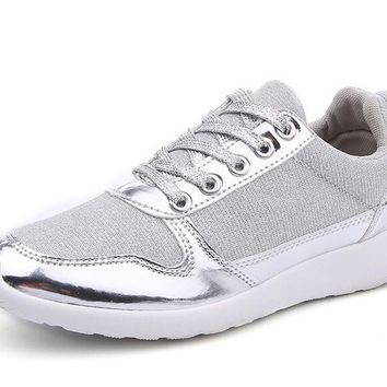 Metallic Trim Womens Sneakers