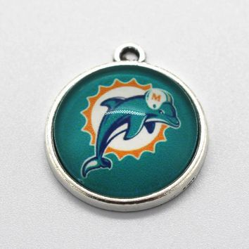 Hot selling 10pcs/lot Miami Dolphins Dangle Charms American Football Sports Charms Diy Jewelry Accessory Hanging Charms