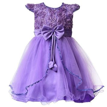 Flower Girl Dresses Purple with Rose bow Dress Wedding Easter Bridesmaid For Baby Children Toddler Teen Girls