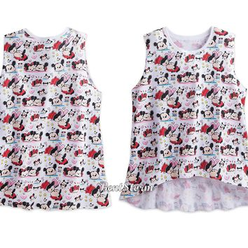 Licensed cool Disney Store Tsum Tsum Mickey & Minnie Mouse Scoop Neckline Tank Top Ladies S-XL