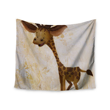 "Rachel Kokko ""Georgey The Giraffe"" Brown Tan Wall Tapestry"