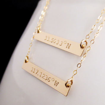 Personalized Gold Bar Necklace, Layered Gold Bars, Latitude Longitude Coordinates, Handstamped Minimalist, Valentines Mothers Day