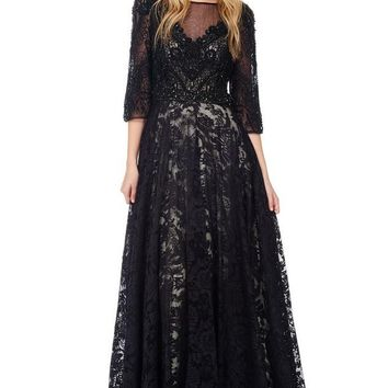 3/4 Sleeves Empire Waist Long Evening Dress