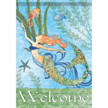 Carson Home Accents FlagTrends 46789 Mermaid Welcome Classic Outdoor Garden Flag
