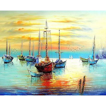 Sailing Boat Seascape DIY Painting By Numbers Kits Acrylic Paint On Canvas Abstract Modern Wall Art Picture Home Decor