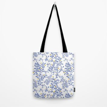 Petite mon amour blue Tote Bag by Vicky Theologidou
