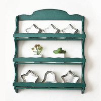 Vintage Shabby Teal Spice Rack, Painted Wood Wall Hanging Kitchen Shelf Chippy