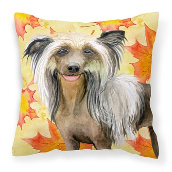 Chinese Crested Fall Fabric Decorative Pillow BB9920PW1818