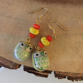 Yellow and Orange Owl Dangle Earrings, Chi Omega Earrings, Gifts For Her, Teen Earrings