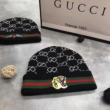 ONETOW GUCCI Fashion Embroidered Logo Knit Hat Cap