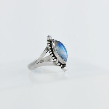 Blue Gemstone Ring - Sterling Silver Navajo Ring Size 7.25 - Natural Blue Stone Ring - Vintage Blue Pearl Ring