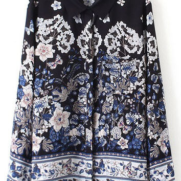 Black Floral Print Long Sleeve Loose Fitting  Blouse