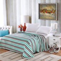 Ultra Comfort Modern Style Micro Fleece Blanket - Aqua Stripe (King)