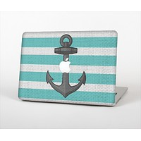 The Teal Stripes with Gray Nautical Anchor Skin Set for the Apple MacBook Pro 15""