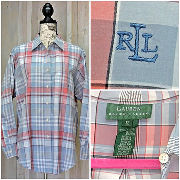 Ralph Lauren oxford shirt / size M / L / 12 / 14 / vintage 80s /  plaid  / button down / cotton /  boyfriend shirt