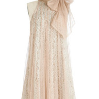 Ryu Vintage Inspired Mid-length Sleeveless Tent Time and Grace Dress in Champagne