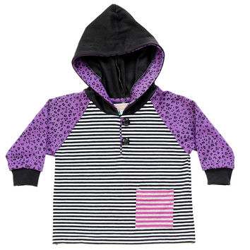 Cheetah Stripes Purple/Black Hoodie | 1T