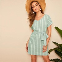 V Neck Vertical Striped Belted Dress Elegant Pastel Short Sleeve Women Tunic Straight Dresses
