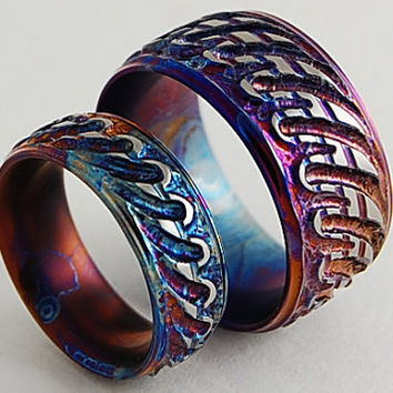 Titanium Rings, The Antiquity Bands with Comfort Fit Interiors