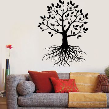 Vinyl Wall Decal Tree Roots Nature Forest Branches Foliage Stickers Unique Gift (1739ig)