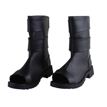 Naruto Sasauke ninja Anime  Uzumaki  Cosplay Shoes Black Peep Toe Boots Pu Leather Shoes Halloween  Cosplay Costume Boots AT_81_8