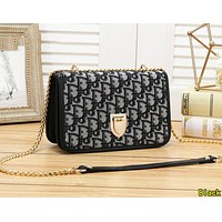 DIOR Fashion Women Shopping Metal Chain Satchel Crossbody Shoulder Bag Black