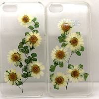 unique iphone 5 case iphone 4 case iphone 4s case Iphone 5s case 5c glitter Dried Dry daisies Pressed Flower Blue rose Real Flower resin