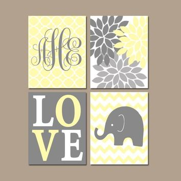 Girl ELEPHANT Wall Art, Baby Girl Yellow Gray Nursery Decor, Flower Elephant Love, Girl Bedroom Wall Decor, Set of 4 Canvas or Prints Decor