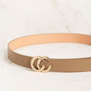 Got Class Thin Taupe Gold Buckle Belt