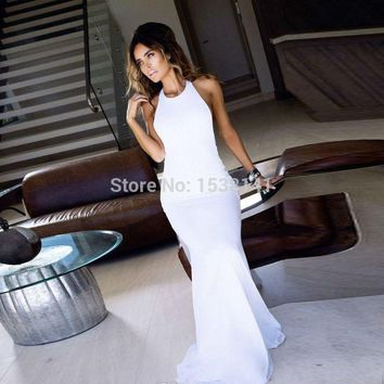 Simple Halter Spandex Vestidos Floor Long Mermaid Prom Elegant Cheap Party Dresses Made In China Formal Gowns