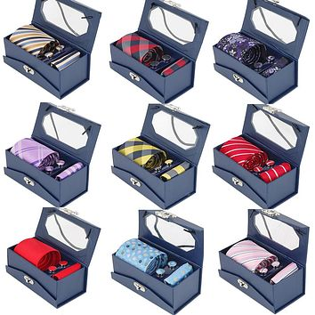 Tie Set For Men Mens Jacquard Woven Tie & Handkerchief & Cufflinks & Gift Box Set Wedding Party Corbatas Classic Necktie