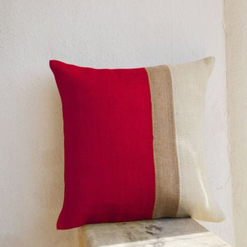Burlap Pillows - Red Burlap Pillow color block - Red Decorative cushion cover- Red Throw pillow gift 24x24 - Red Euro Sham - couch pillows