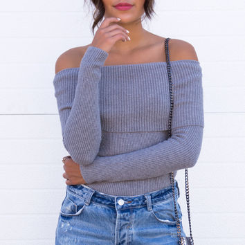 Grey Knit Off The Shoulder Top