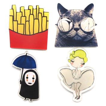 New Shirt Cute Harajuku Acrylic Brooches Badge Cartoon lapel icons with a pin cat Figure Simpson Batman Brooch Broche BR0001