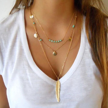 Exquisite Sequins Multilayer Chain Turquoise Beads Necklace with Feather Pendent