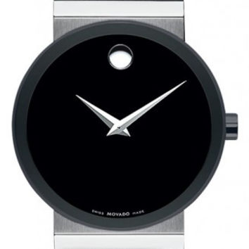 Movado Sapphire Synergy Black PVD Museum Dial Black Rubber Band 42mm Watch 0606268