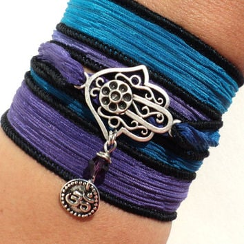 Hamsa Silk Wrap Bracelet Ribbon Yoga Jewelry Namaste Buddhism Purple Blue Om Ohm Hand of Fatima Unique Bohemian Gift For Her Christmas