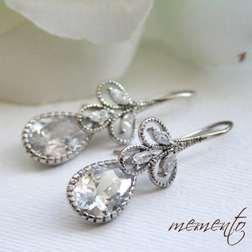 Samantha Silver Pleated Cubic Zirconia Earrings by by MyMEMENTO