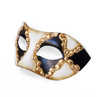 Black, White And Gold Masquerade Mask In Antique Look -  Classical Venetian Mask With Metallic Gold Baroque Swirls - For Men
