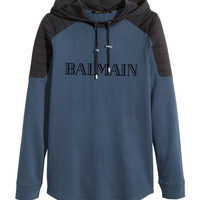 Hooded Shirt with Printed Text - from H&M