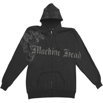 Machine Head Men's  Ornate Zippered Hooded Sweatshirt Black
