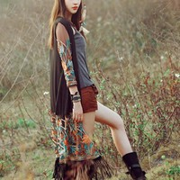 Long Boho Floral Fringe Beach Cover Cardigan