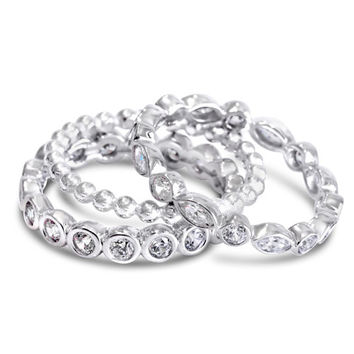 Stacking Rings 3 Piece Set 925 Solid Sterling Silver Clear Stones Beaded Stack Stackable Sterling Silver Ring Size 5 6 7 8 9 10 11