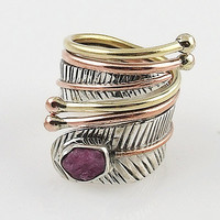 Pink Tourmaline Rough Sterling Silver Three Tone Adjustable Ring